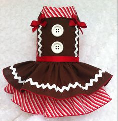 Gingerbread Christmas Dog Harness Dress for by ChloeBellaDesigns
