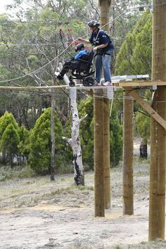 Loads of fun at the high-ropes course for wheelchairs
