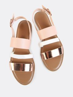 Rose Gold Sling Back Triple Band Sandals from MakeMeChic.COM.