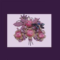 Stanley Hagler Amazing pink/lavender one-of-a-kind dragonfly brooch. Signed STANLEY HAGLER N.Y.C. - Vintage Items for Sale - The Vintage Vil...