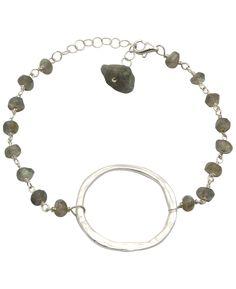 Sterling Silver Zen Circle Bracelet with Labradorite