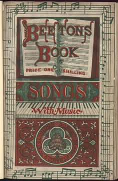 Beeton's Book of Songs. This work is at British Library shelf mark 11646bb57 This is the upper paper cover.