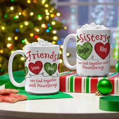 Gift your utterly awesome sisters or friends matching mugs that pay tribute to your beautiful and unbreakable bond! Christmas Presents, Christmas Decorations, Christmas Ideas, Sister Friends, Personalized Christmas Gifts, Holiday Wishes, Host A Party, Feeling Special, Special Occasion