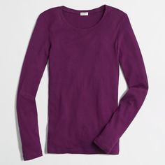 J Crew J.Crew Factory long-sleeve tee ($15) ❤ liked on Polyvore featuring tops, t-shirts, cotton long sleeve t shirts, longsleeve tee, j.crew, j crew top and purple top