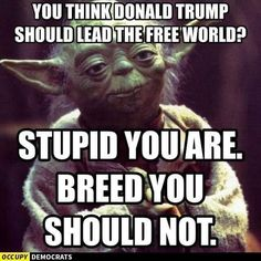 You think Donald Trump should lead the free world? Stupid you are. Breed you should not.