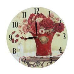 This listing is for one Home Decoration Vintage Style MDF Red Flowers in Red Vase Scene Vintage Style Wall Clock 28 cm. Price £12.99