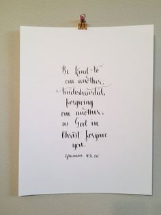 """Be kind to one another, tenderhearted, forgiving one another, as God in Christ forgave you."" Ephesians -- Pink Letter J Designs Etsy Shop 2015 Letter J Design, Bible Verse Calligraphy, Ephesians 4, Forgiving Yourself, Uplifting Quotes, Encouragement Quotes, Forgiveness, Christianity, Bible Verses"