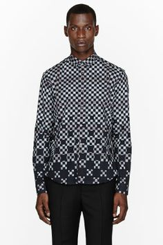 MCQ ALEXANDER MCQUEEN Grey degraded check shirt