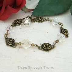 Rose and Crystal Bracelet