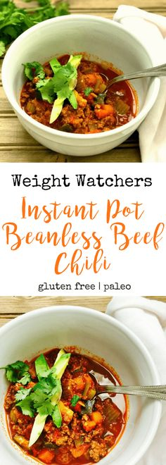 21 Day Fix Instant Pot Beanless Beef Chili {Paleo/Whole 30 Friendly} - Confessions of a Fit Foodie Fixate Recipes, Healthy Recipes, Ww Recipes, Healthy Meals, Healthy Foods, Healthy Eating, Paleo Dinner, Easy Dinner Recipes, Beanless Chili Recipe