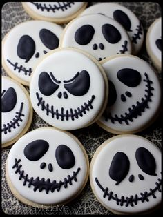 Jack Skellington Sugar Cookies. The classic Nightmare Before Christmas leader makes the perfect, simple Halloween cookie.