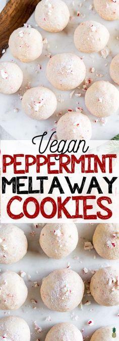 Peppermint Meltaway Christmas Cookies (Vegan) - My Vegan Recipes Vegan Christmas Desserts, Vegan Christmas Cookies, Christmas Treats, Vegan Candies, Vegan Treats, Dog Treats, Holiday Baking, Christmas Baking, Christmas Time
