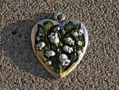 Large Art Nouveau LILY of the VALLEY Sterling silver Pendant Bracelet Charm French Muguet ENAMELED One Inch Very Heavy Vintage