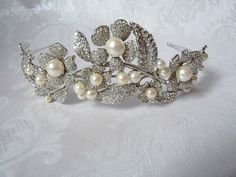 Vintage Tiara ~ Flowers and Leaves set with Diamond Pastes and Glass Pearls ~ Bridal Crown ~ Prom Tiara