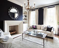 Glamorous Navy Blue Curtains mode Toronto Traditional Living Room Image Ideas…