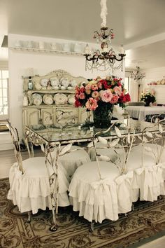 Custom Slipcovers by Shelley: Shabby Chic ruffled slipcovers