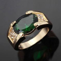 Mens Wedding Size 10 Emerald Princess Cut 18K Gold Filled Engagement Ring Gift
