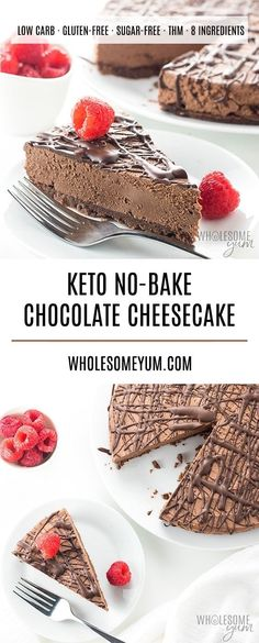 Keto Low Carb No Bake Chocolate Cheesecake Recipe - An easy no bake chocolate cheesecake recipe with 20 minute prep! Keto low carb chocolate cheesecake has just 5 ingredients in the crust & 4 in the filling. Keto Chocolate Recipe, No Bake Chocolate Cheesecake, Low Carb Cheesecake Recipe, Keto Fudge, Keto Brownies, Gluten Free Cheesecake Crust, Chocolate Cream Cheese Cake, Low Carb Chocolate Cake, Easter Cheesecake