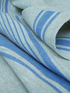 Highest quality Natural Blue Linen Fabric Sample Provence from LinenMe shows elegance, style and sophistication of the owner. Buy similar LinenMe products in Samples range. Provence, Kitchen Window Coverings, Kitchen Fabric, Textile Texture, Blue Wood, Linens And Lace, Striped Linen, Interior Accessories, Fabric Samples