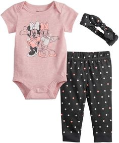 Disneyjumping Beans Disney's Minnie Mouse & Daisy Duck Baby Girl Graphic Bodysuit, Polka-Dot Pants & Headband Set by Jumping Beans