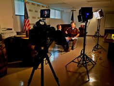 Great interview set up using our IFB1024's and D7w monitor for CBS evening news. Photo by Jake Barlow.