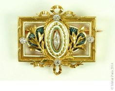 Belle Époque Diamond and Enamel Brooch, Signed Lucien Gautrait for Léon Gariod