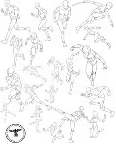 Virgin Bodies 3, by FVSJ on deviantART. >> Action pose reference sheet for anime/manga characters.