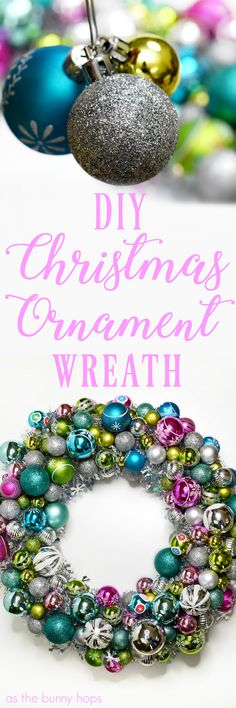 You won't believe just how easy it is to make this vintage-inspired Christmas Ornament Wreath! #diy #wreath #christmas
