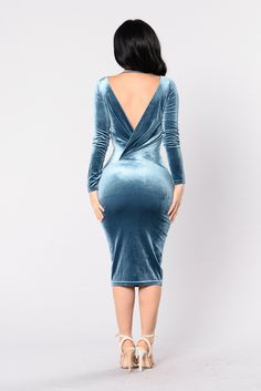 Available in Teal Long Sleeve Deep V Lace Up Dress Low Back Velvet 95% Polyester 5% Spandex