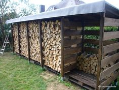 Build a stable firewood shelter (firewood shed) well and cheaply yourself rakeknivens world Outdoor Firewood Rack, Firewood Shed, Firewood Storage, Cheap Firewood, Garden Tool Storage, Shed Storage, Garden Tools, Wood Store, Shed Homes