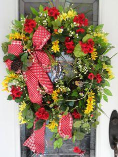 Red Geranium Summer Wreath Summertime by SistersFloralandGift