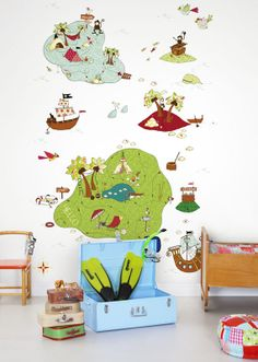 Treasure Map by Mr Perswall - Mural : Wallpaper Direct Map Wallpaper, Kids Wallpaper, Map Wall Art, Panel Wall Art, Treasure Maps For Kids, Ocean Home Decor, Kids Room Art, Illustrations, Wall Stickers