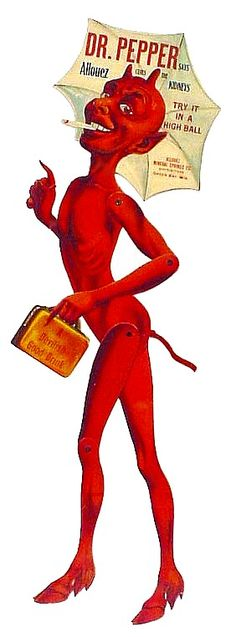 Enjoy this awesome vintage Dr. Pepper soda pop advertising die-cut DEVIL
