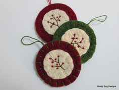 Bittersweet Branch Wool Felt Ornaments Red and by WoollyBugDesigns, $15.00