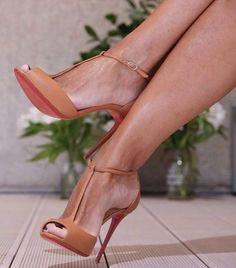 Women brown leather t-strap pumps women shoes open toes t-bar ankle strap women shoes high heels neckline gladiator - women shoes fashion, T Strap Pumps, Pumps Heels, Stiletto Heels, Gladiator Heels, T Strap Shoes, Peep Toe Heels, Hot High Heels, High Heel Boots, Heeled Boots