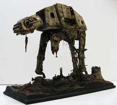 Abandoned Refuge: a ~1/32 AT-AT model-diorama. The concept dictated that the refuge looks twice abandoned.... First abandoned by the Empire and then by the local primitives.
