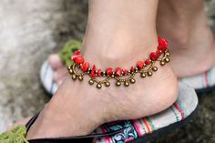 Anklet Coral Chandelier Brass by XtraVirgin on Etsy