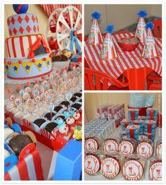 mesa e enfeites personalizados festa Circo