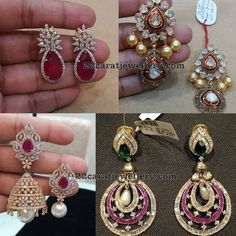 Earrings Collection from Vajra Jewelry Diamond Earrings Indian, Gold Jhumka Earrings, Ruby Earrings, Gemstone Earrings, Diamond Jewellery, Men's Jewellery, Diamond Rings, India Jewelry, Ear Jewelry
