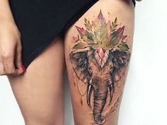 Sexy Elephant Thigh Tattoo Design - The Best Elephant Tattoo Designs - Cute Elephant Tattoo Designs and Ideas - Sexy Thigh Tattoo, Small Elephant Tattoo, Elephant Outline, Elephant Tattoo Meanings Mini Tattoos, Sexy Tattoos, Trendy Tattoos, Love Tattoos, Beautiful Tattoos, Body Art Tattoos, Floral Tattoos, Small Tattoos, Colorful Tattoos