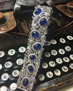 A glimpse into this beautiful #diamond and #sapphire #bracelet set with nine unheated Burmese sapphires. #bonhamsjewels