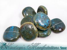 AquaHoney Porcelain Flat Round Beads 26-29mm. Starting at $5 on Tophatter.com!