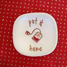 Ceramic Tea Bag Holder Ceramic Spoon Rest Put it here by SayYourPiece. Cute!
