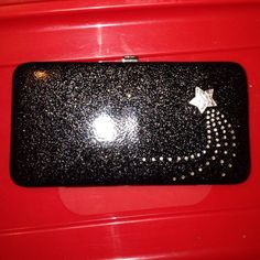 3225653569a NWOT Black with glitter wallet super shiny / sexy Nice black patent / vinyl  / shiny hard wallet with silver glitter very pretty Bags Wallets