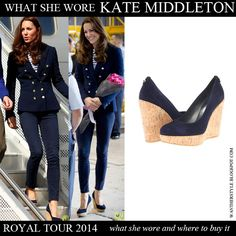 Kate Middleton Duchess of Cambridge in blue wedge cork shoes, blue jacket, stripe top and blue jeans