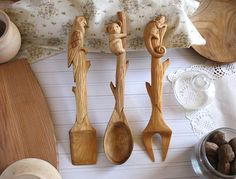 Wood Kitchen Set Large Spatula Spoon Meat Fork Kitchenware Home Decor Tableware Gift Housewarming Food Decoration Craft Tools Kitchen Set
