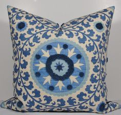 SUZANI TUFTED Blue Throw Pillow - Decorative Pillow Cover - 22x22 - Tribal Azure - accent pillow -