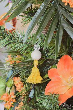 Tropical Bohemian Christmas Tree - Casa Watkins Living Tropical Christmas Trees, Bohemian Christmas, Diy Christmas Ornaments, Tassels, Sea, House Styles, Decoration, Holiday Decor, Create