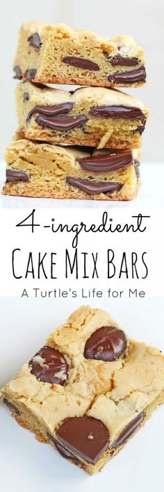 These Cake Mix Bars are so easy to make that it almost isn't a recipe! Only … These Cake Mix Bars are so easy to make that it almost isn't a recipe! Only 4 ingredients and she gives you lots of different ways to change the flavors to customize them! Cake Mix Desserts, Cake Mix Recipes, Chocolate Desserts, Easy Desserts, Cookie Recipes, Delicious Desserts, Dessert Recipes, Bar Recipes, Potluck Desserts