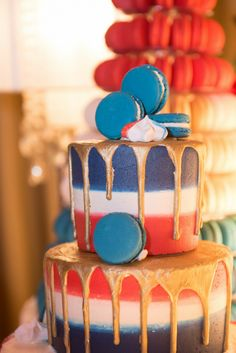 Red, white and blue tiered cake with gold dripping and macaroons. Seriously wow! Decadent cakes provided for us by GC Couture at Kent House Knightsbridge for our Party Like A Royal event. Gold Drip, Royal Theme, Decadent Cakes, Grandma Birthday, Gold Cake, Drip Cakes, Macaroons, Red White Blue, Tiered Cakes